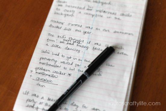 practice journaling for scrapbook