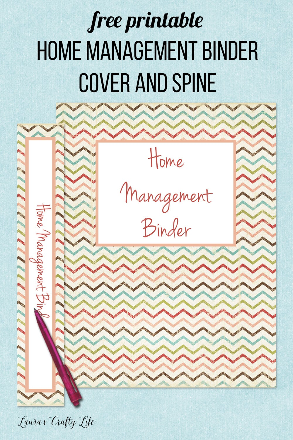 free printable home management binder cover and spine