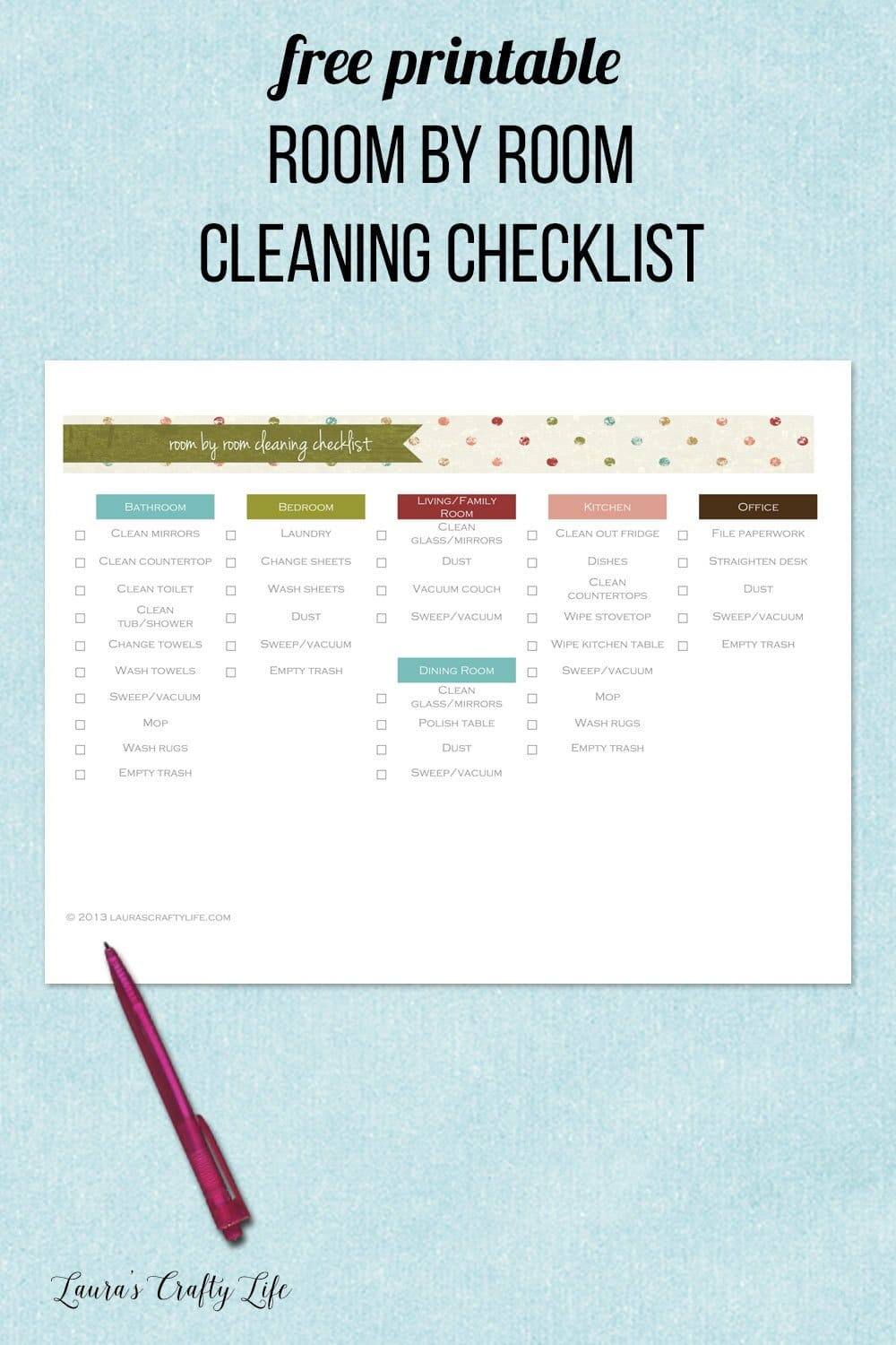 free printable room by room cleaning checklist