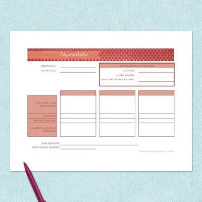 free printable babysitter checklist
