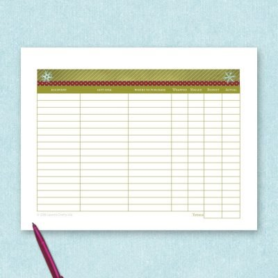 free printable holiday gift tracker