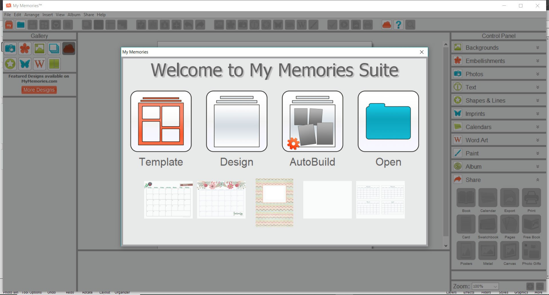 My Memories Suite opening screen