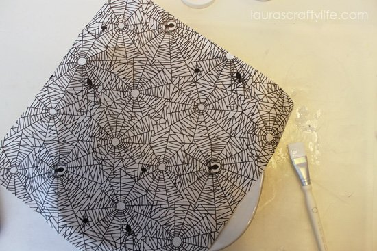 cut decoupage paper to fit plate