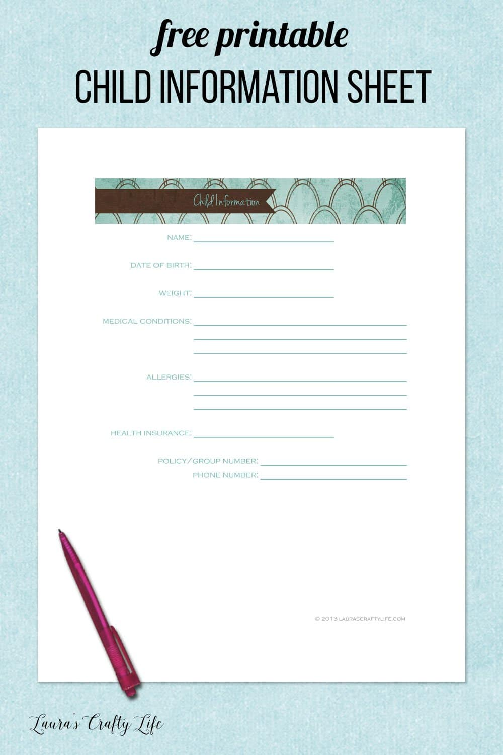 free printable child information sheet