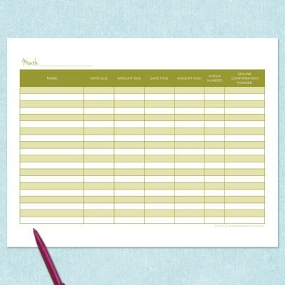 free printable detailed monthly bill tracker
