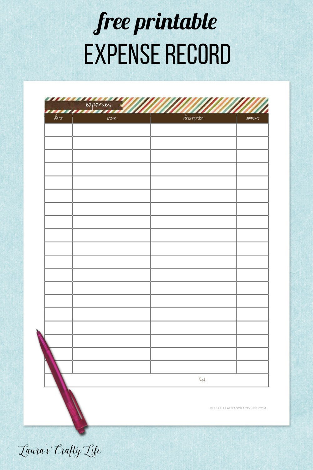 free printable expense record