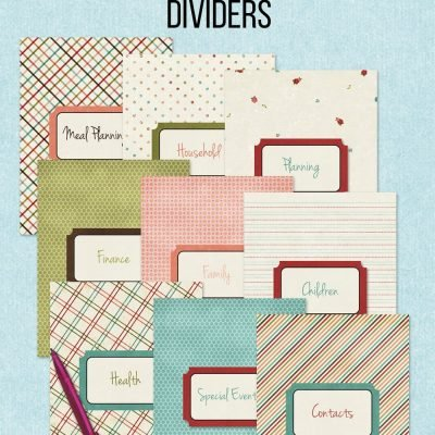 free printable home management binder dividers