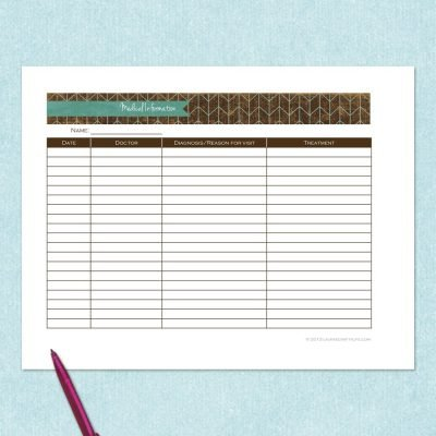 free printable medical information tracker