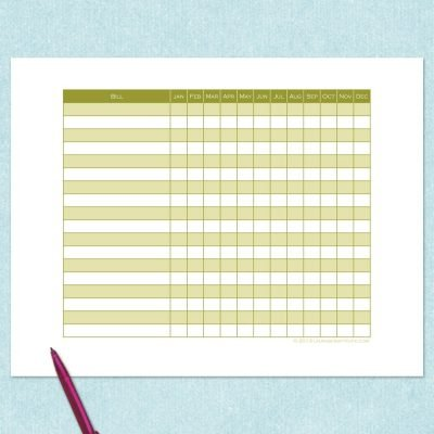 free printable monthy bill tracker