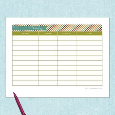free printable password log