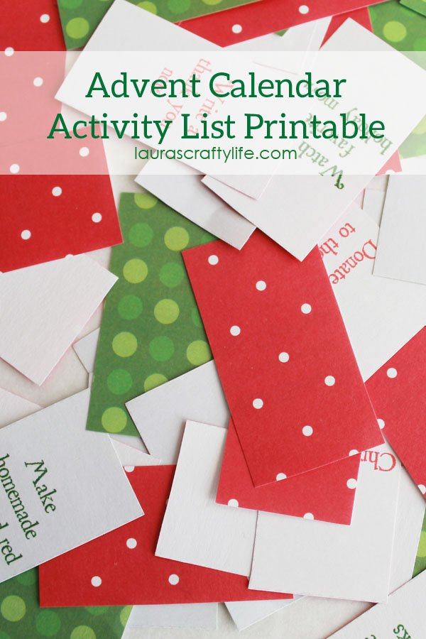 Advent Calendar Activity List Printable - Laura's Crafty Life