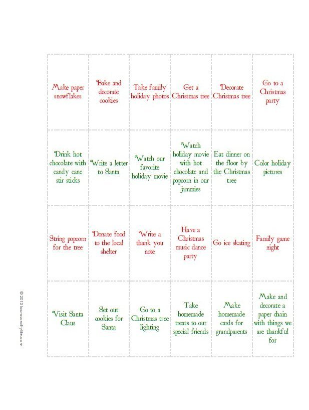 Christmas Advent Activities Printable