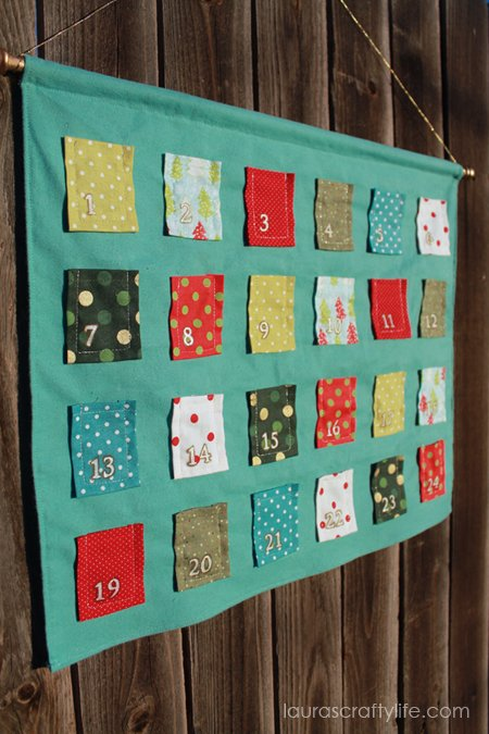 finished DIY fabric advent calendar