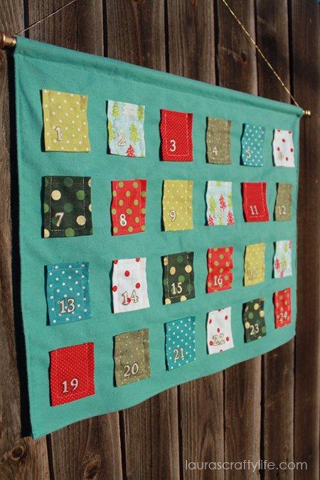 finished DIY fabric advent calendar