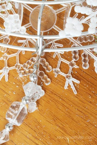 hook beaded ornament to wreath frame