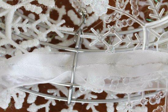 loop ribbon through wreath frame
