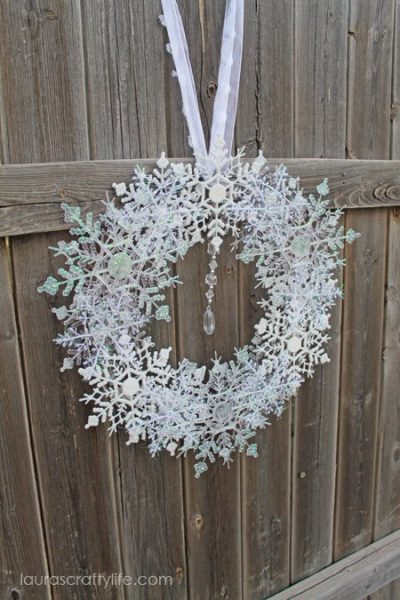 side angle snowflake wreath