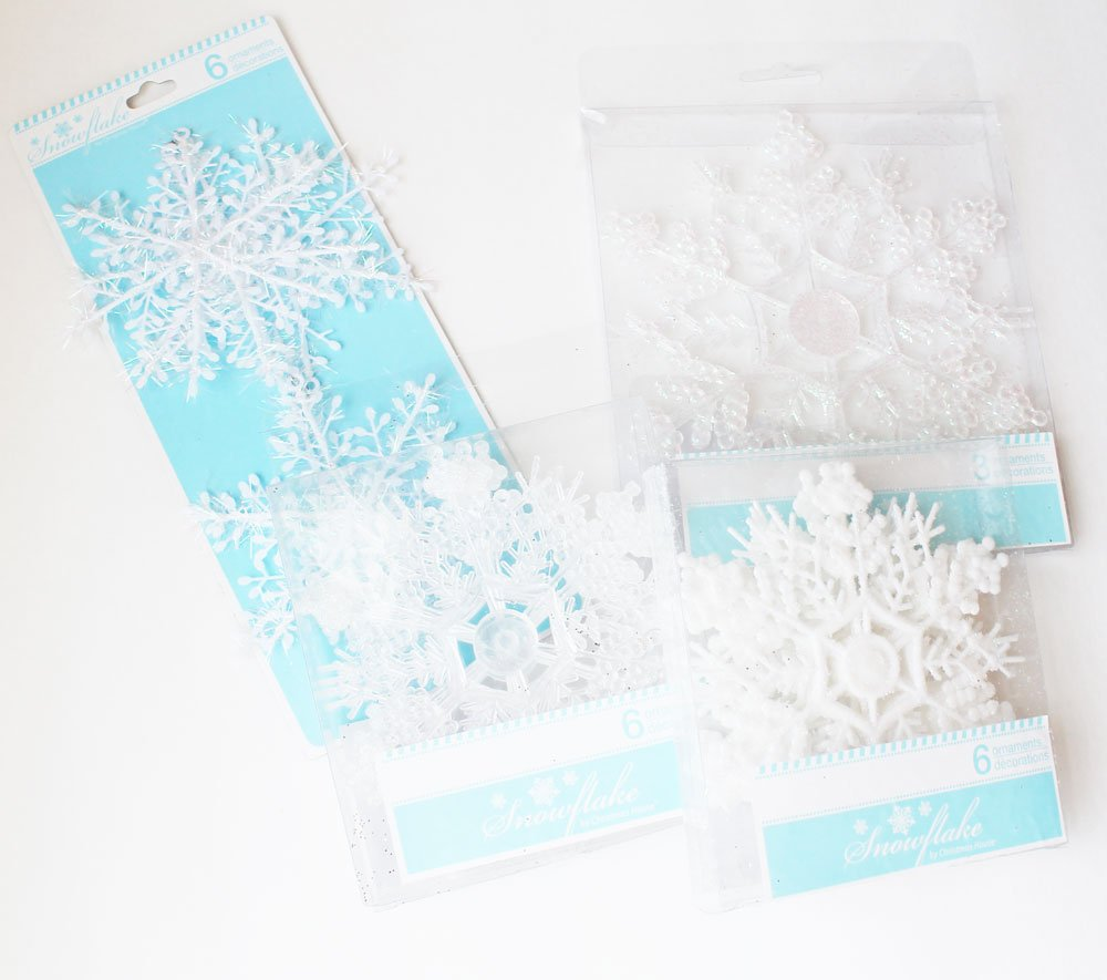 snowflake ornaments from Dollar Tree