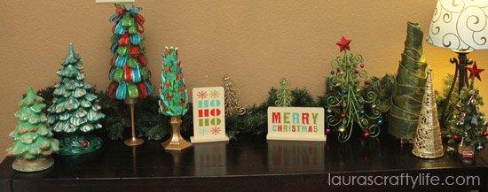 Christmas tree faux mantel