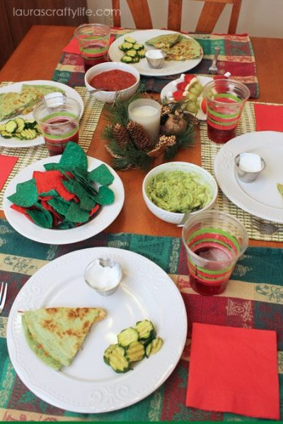 Red and Green Christmas dinner by Laura's Crafty Life