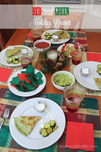Red and Green holiday dinner by Laura's Crafty Life