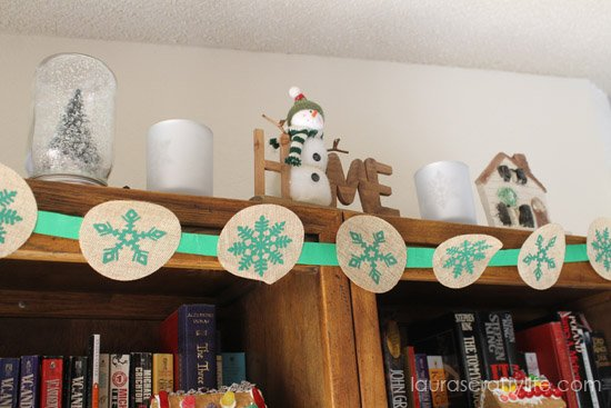 bookshelf snow display