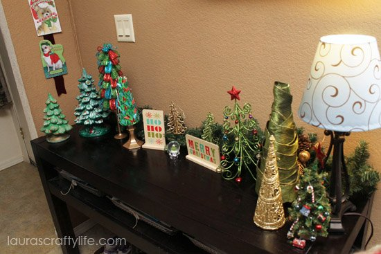 front entryway table Christmas decor