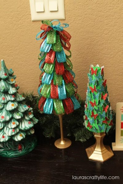 hand made styrofoam trees punched and ribbon