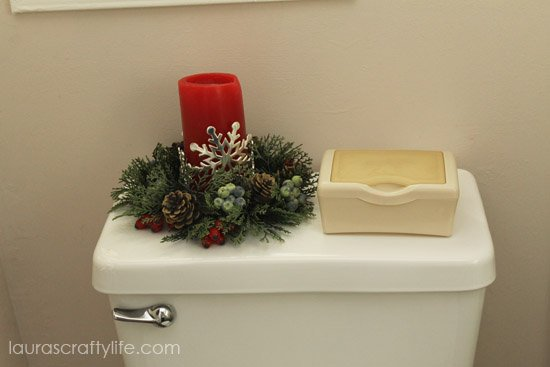 holiday candle in bathroom