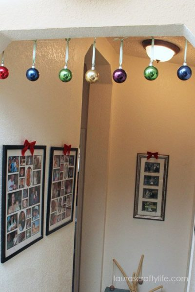 ornaments hung in hallway