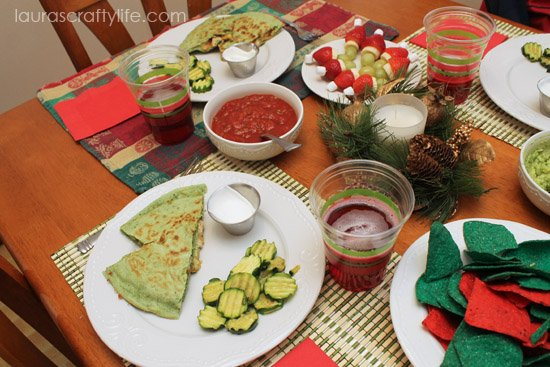 red and green Christmas dinner