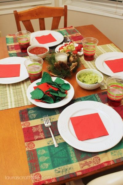 red and green dinner place setting