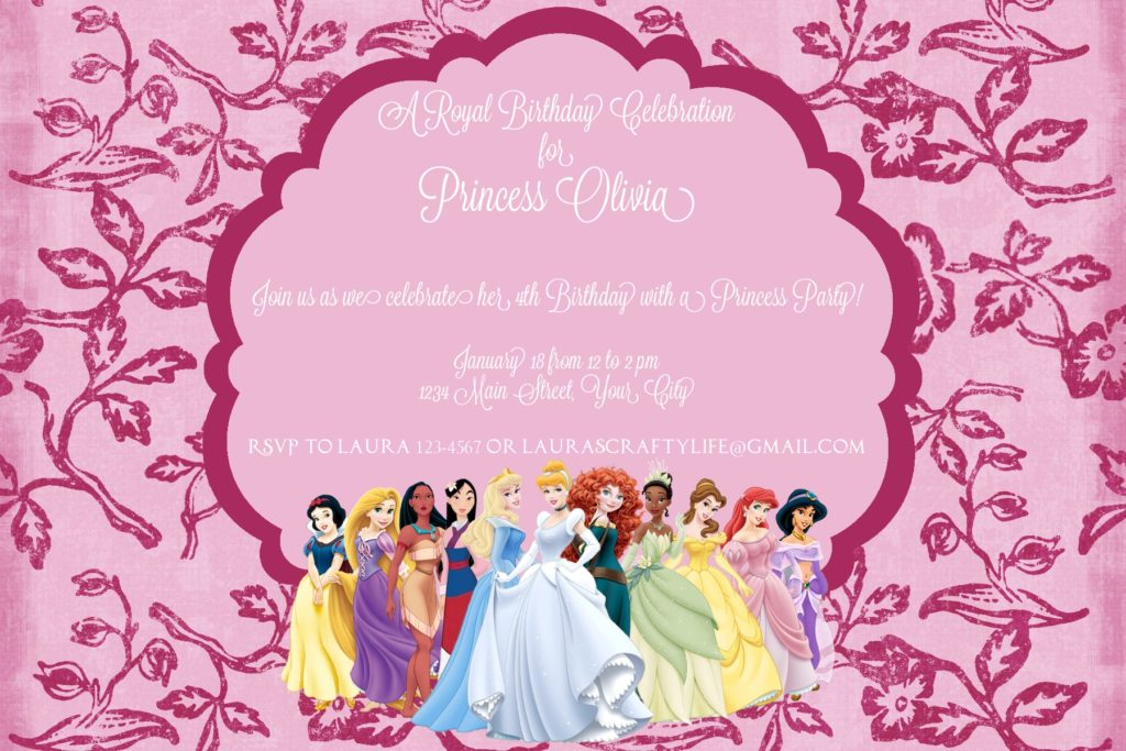 Disney Princess Party Invitation - Laura\'s Crafty Life