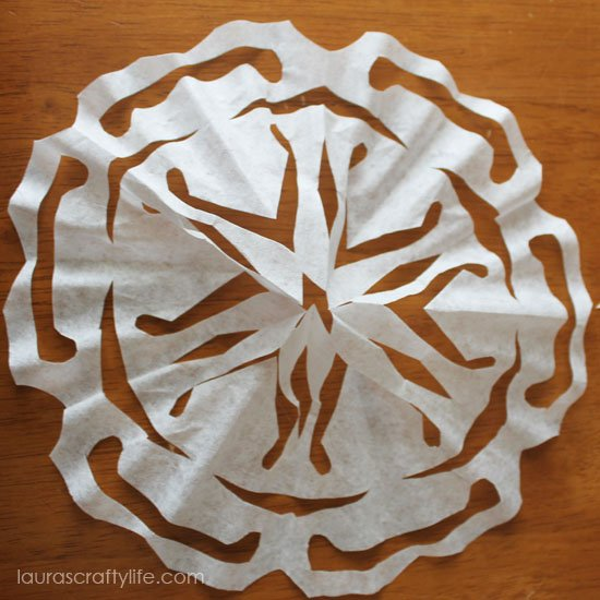 finished coffee filter snowflake