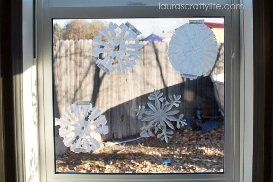 finished paper snowflakes