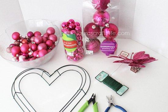 gather supplies for Valentines wreath