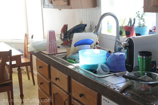 kitchen full of dishes