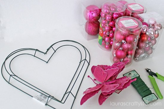 supplies needed for heart wreath