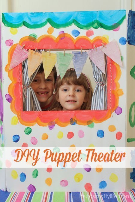 DIY Puppet Theater #ColorfulCreations #shop @Walmart - Lauras Crafty Life