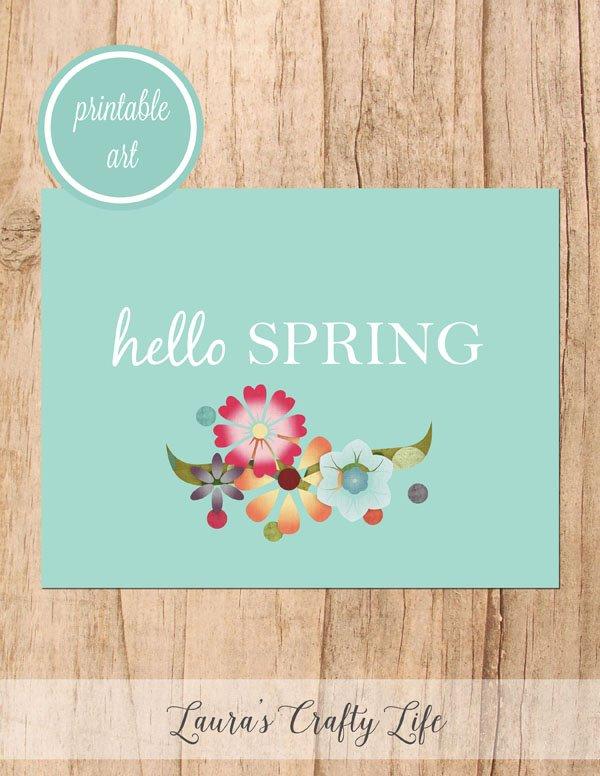 Hello Spring free printable art - blue floral