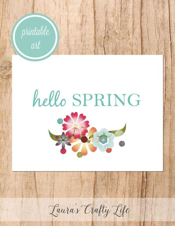 Hello Spring free printable art - white floral