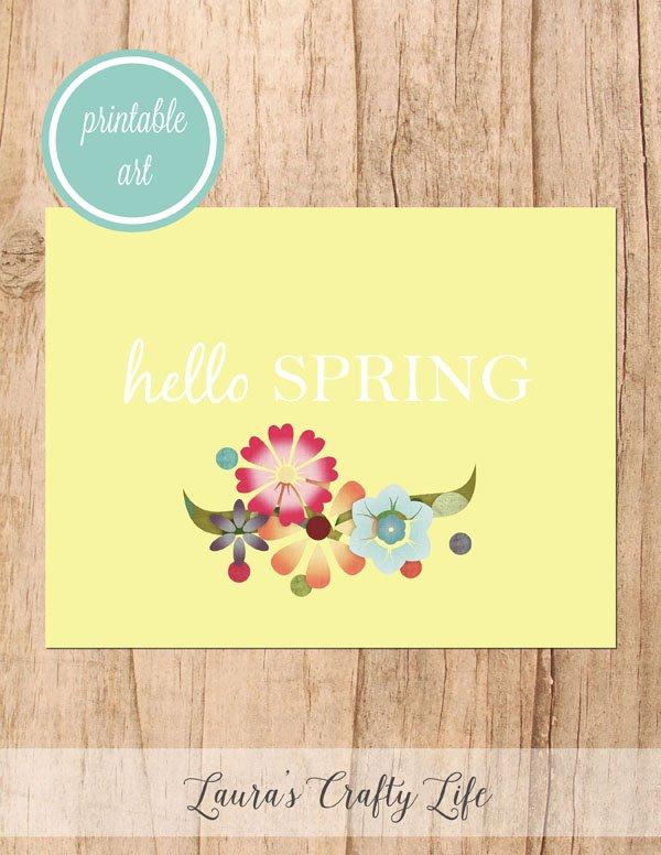 Hello Spring free printable art - yellow floral