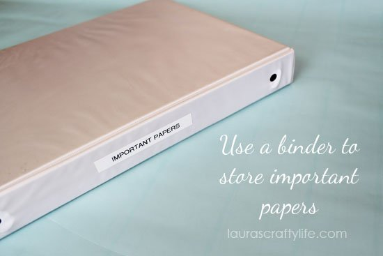 Use a binder to store important papers