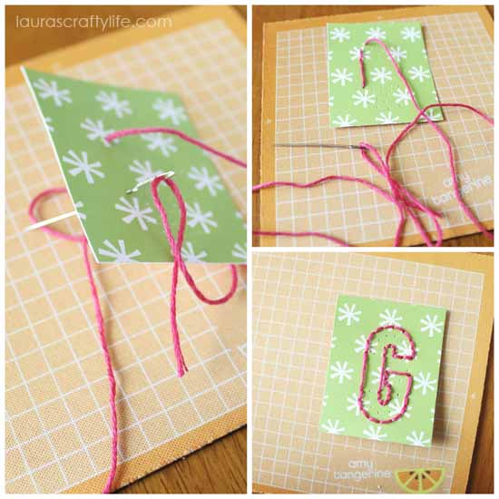 embroider letter using holes as a guide
