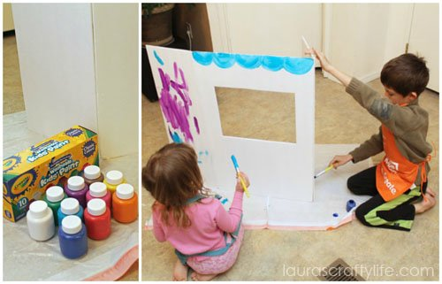 kids painting puppet theater