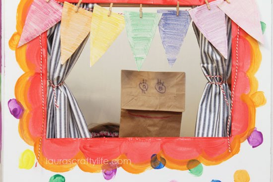 paper bag puppet in theater