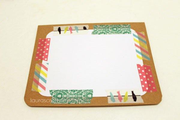 add coordinating washi tape strips around edges