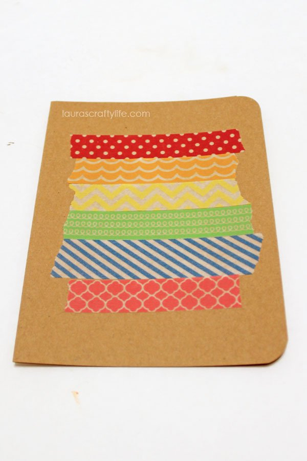 add layers of washi tape in a striped pattern