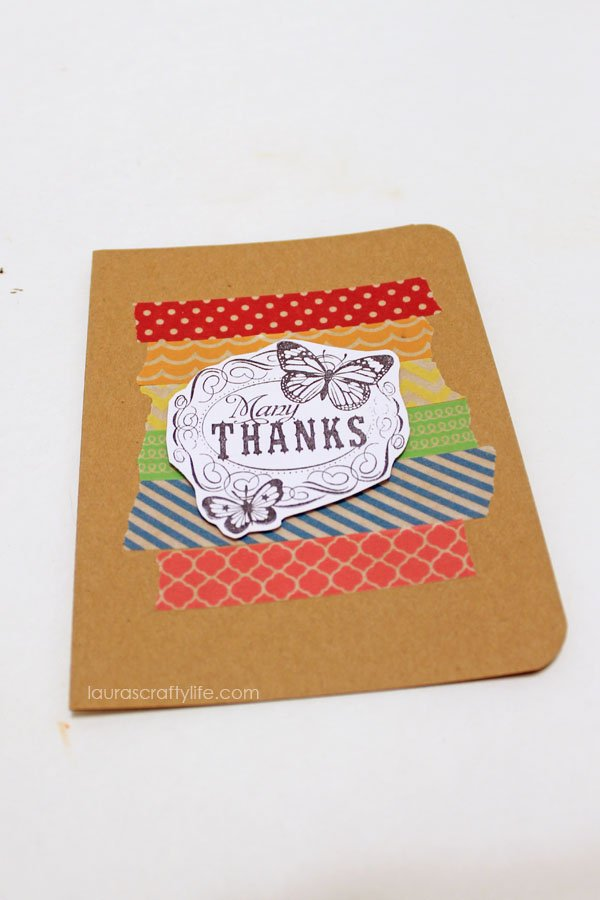 add stamped card stock with dimensional tape