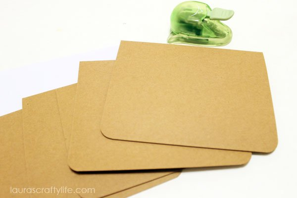 kraft cards with rounded corners